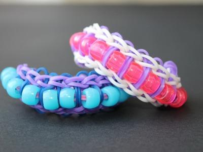 Rainbow loom Nederlands, Ladder armband, variant met kralen