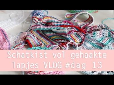 Schatkist met gehaakte lapjes 100 days of yarn bombing day 13