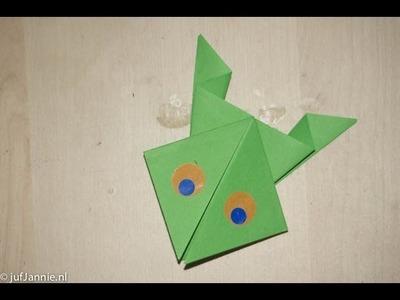 Origami met Juf Jannie - kikker vouwen van vouwpapier