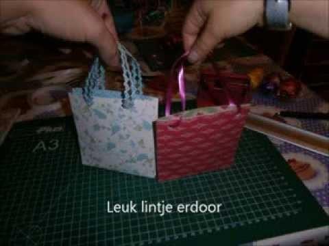 Moederdag papieren kado tasje maken DIY korte tutorial