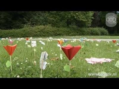 Origami bloemen verspreiden liefde door Noorderplantsoen