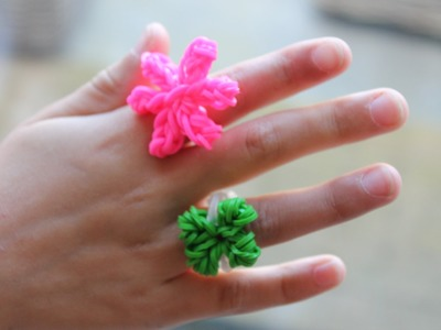 Rainbow loom Nederlands, ring met klavertje 4 en ring met bloem