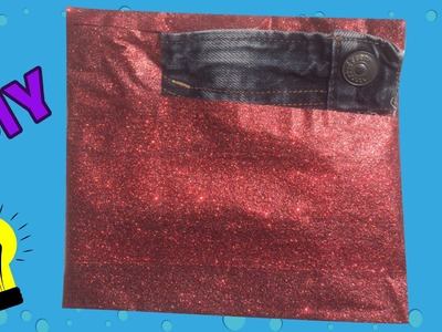Duck tape etui of portemonnaie knutselen van rode glittertape