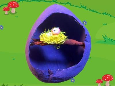 Papier-maché ei met een vogelnest knutselen voor thema Pasen of lente