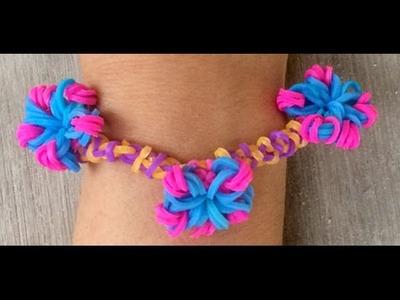 Simpel bloemetje maken als bedeltje met Loom bandjes voor een armbandje met een haakpen