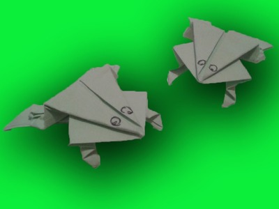 Origami springende kikker vouwen van papier - Knutsel Filmpjes