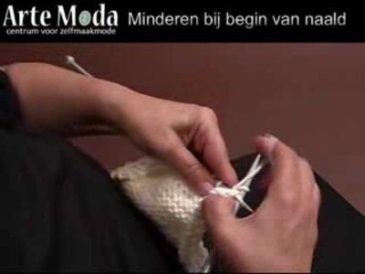 Arte Moda voorbeeld breien: Minderen bij begin van naald