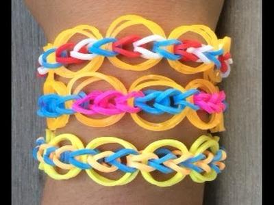 Loom armband met cirkels op een Loom bord met een haakpen in de kleur van de Nederlandse vlag.