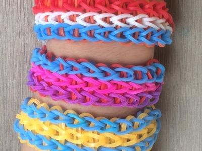 Dikke  voetbal armbandjes maken van drie rijen voor Vaderdag met Loom bandjes op een Loom bord