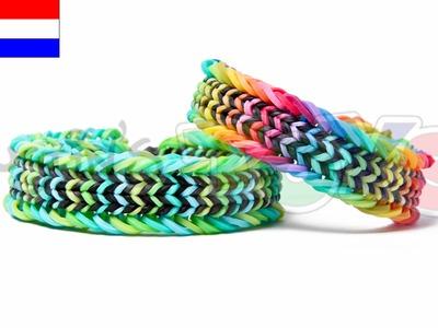 Rainbow Loom Nederlands, Fishtail Sandwich, armband