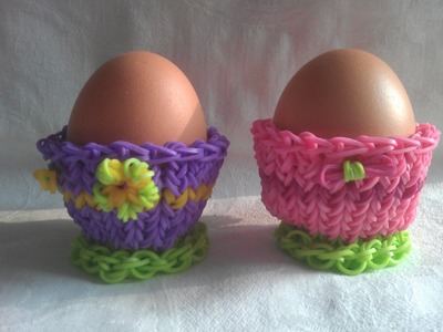 Rainbow loom Nederlands: eierdopje pasen, egg cup (original design)