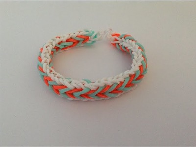 Rainbow loom, Fishtail with border, armband