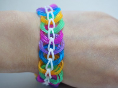 How to make Easy a Triple Link Chain Rainbow Loom Bracelet without Loom with 2 Pencils DIY