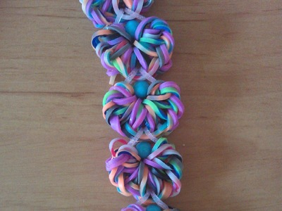 Rainbow loom Nederlands: flower doily armband. bracelet double bands. designed by waveloomers (IG)