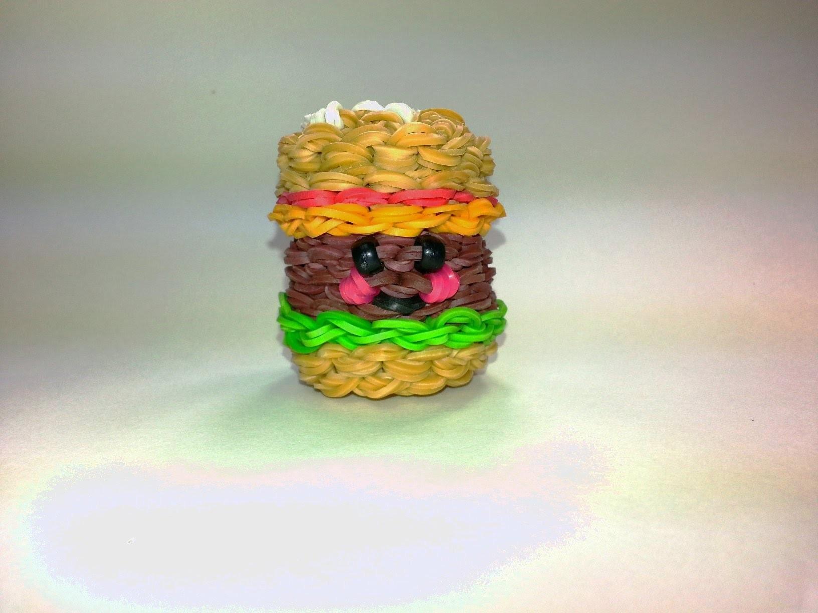 3-D Happy Hamburger Tutorial (Rainbow Loom)