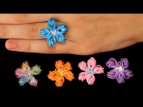 Rainbow Loom Nederlands   Flower Ring    Loom bands, rainbow loom, tutorial, how to