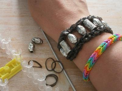 Armband rainbow loom met kralen (korte versie)