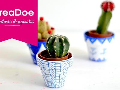KreaDoe DIY Tutorial Cactuspotjes beschilderen