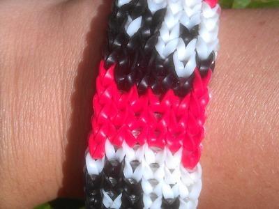 Rainbow loom Nederlands: Ying Yang patroon armband. bracelet alpha loom & rainbow loom