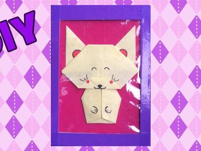 Kat origami - lijstje knutselen met karton en duct tape