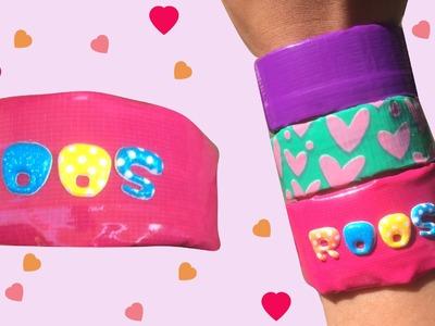 Roze armband knutselen met naam - DIY duct tape