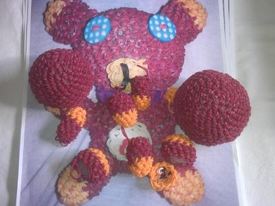 Rainbow loom Nederlands: amigurumi. loomigurumi beertje, bear, deel 2. Design: Sandra Hoorn