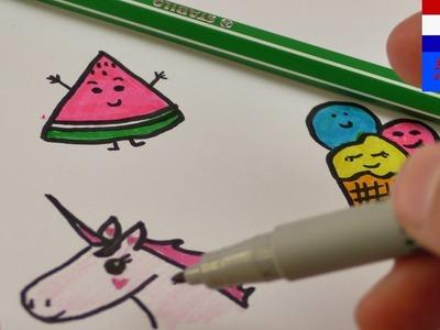 DIY tekenideeën | schattige tekeningen maken | sweet edition met snoepgoed, ijs & eenhoorn | cute