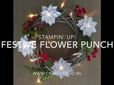 Kerst christmas festive flower punch stampin up nederlands