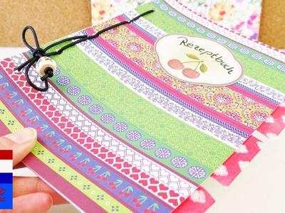 Handig receptenboek maken | DIY schrift met register maken | met stickers en karton met patroon