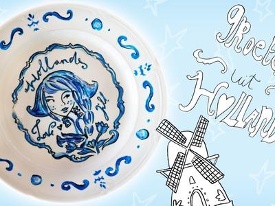 Jill - DIY: Versier een Delfts blauw bord!