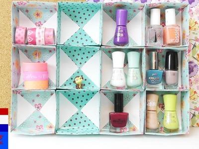 Opbergkastje voor nagellak, washi tape & sierraden zelf maken | Origami bakjes