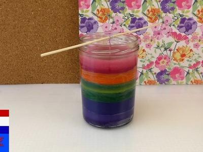 Zelf kleurige kaarsen maken | zelf regenboogkaarsen maken | kaarsen in glas