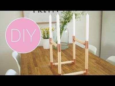 DIY kandelaar hout en koper
