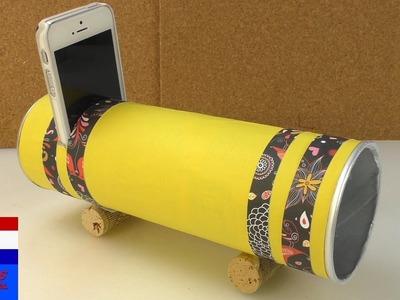 Zelf luidspreker maken | luidspreker met Pringles DIY | versterker maken van chipskoker