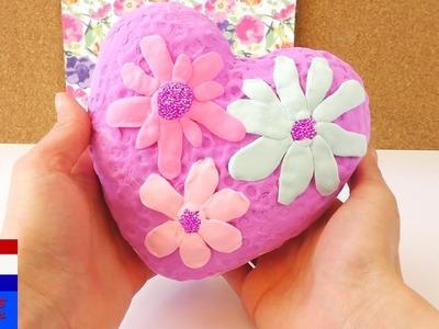 DIY lentehart met schuimklei en zijdeklei   silk clay & foam clay   decoratie met bloemen