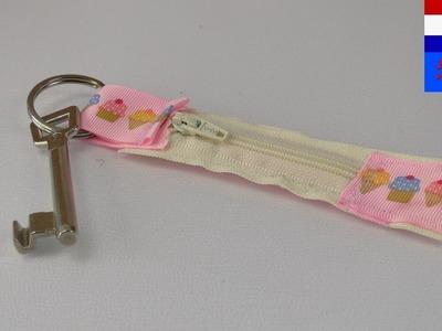 DIY sleutelhanger met geheim zakje naaien | plaats voor geld of bonnen | idee voor beginners