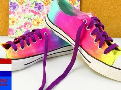 DIY zomerschoenen met kleurverloop | leuke kleuren - makkelijk zelf te maken | chucks trends idee