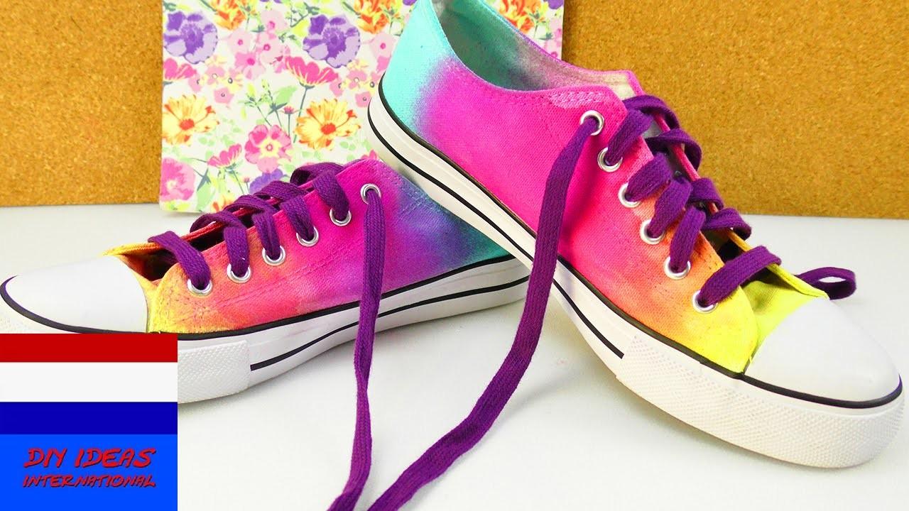 DIY zomerschoenen met kleurverloop   leuke kleuren - makkelijk zelf te maken   chucks trends idee