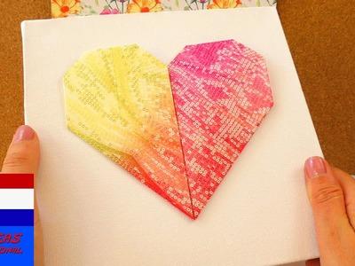 DIY origamihart op doek | leuk decoratie- & cadeau-idee | eenvoudig & snel zelf maken