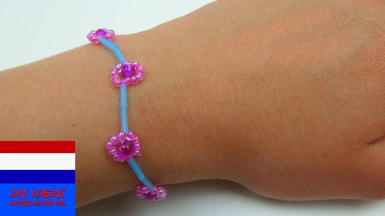 DIY bracelet. armband of ketting met bloemen maken van parels  (met parelset van Djeco)