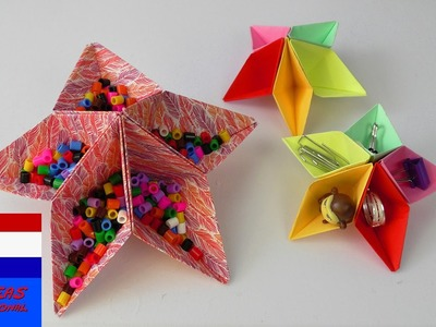 DIY opbergdoosje in stervorm | cool opbergsysteem vouwen & plakken voor op je bureau | zelf maken