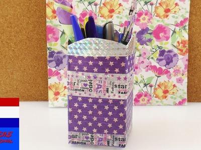 DIY opbergsysteem voor op je bureau | pennen & cosmetica | recyclen met washi tape | verpakking