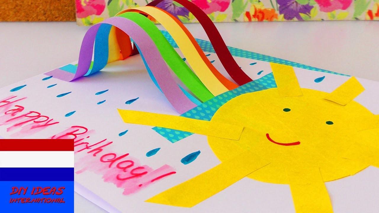 Zelf schattige verjaardagskaart met regenboog maken | rainbow birthday card DIY idee