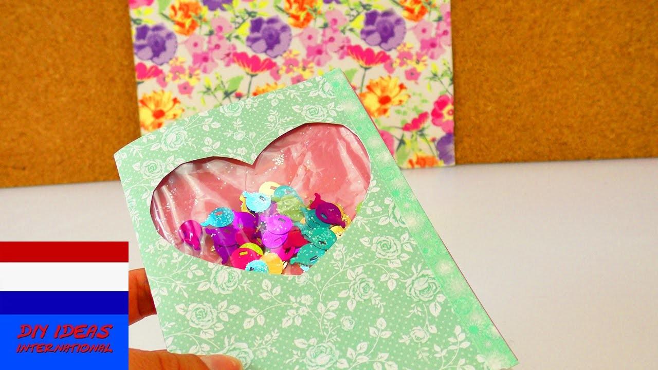 DIY kaart met confetti om te schudden | zelf verjaardagskaart met leuk effect maken | verrassing
