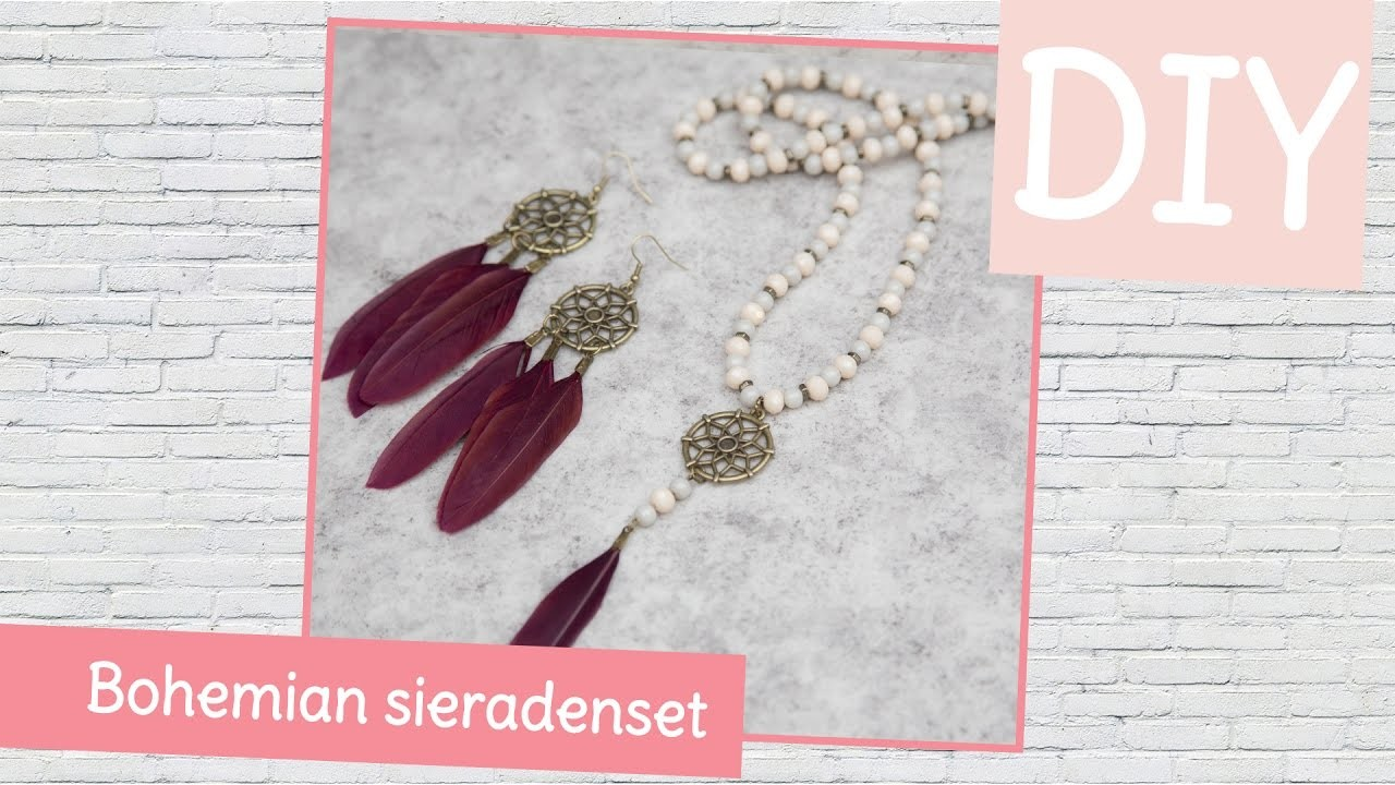 DIY sieraden maken met Kralenhoekje - Bohemian sieraden set van ketting en bijpassende oorbellen