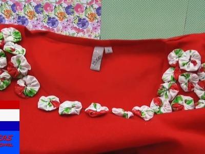 Upcycling DIY vintage shirt met bloemen versieren   oud t-shirt opfrissen