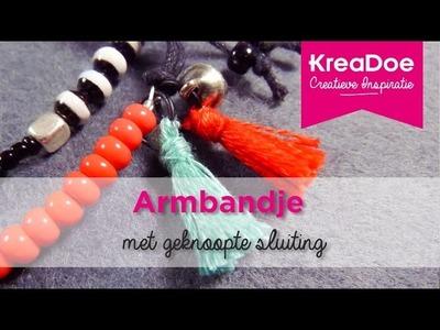 KreaDoe - DIY - Tutorial - Armbandje met geknoopte sluiting
