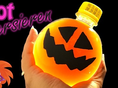 Halloween pompoen verven op een lege fles of pot - DIY leuke vaas of pot versieren (Nederlands)