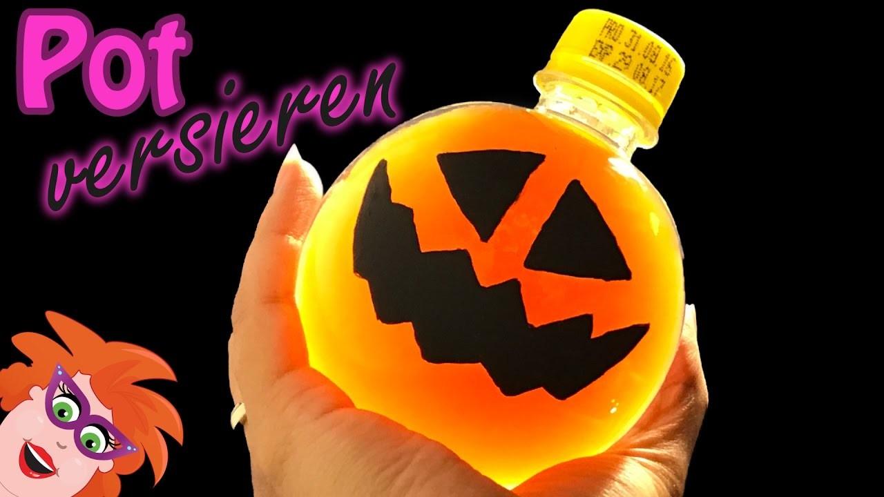 Halloween pompoen verven op een lege fles of pot - DIY leuke vaas of pot versieren (Nederlands)