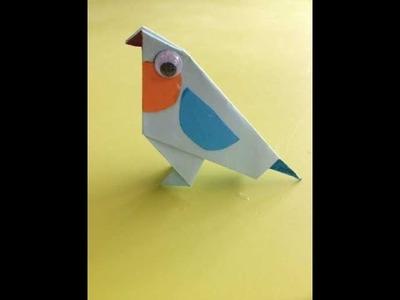 Origami met Juf Jannie - blauw vogeltje vouwen van vouwpapier